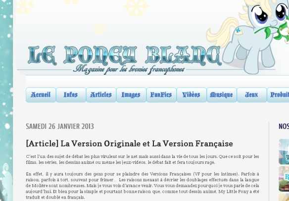 MLP - VO versus VF un article du Poney Blanc