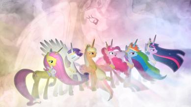 Les mane 6 avec chacune leurs éléments, entourées de princesse Celestia.