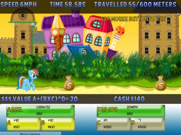 Le but est simple, faire courir Rainbow Dash et gagner des bonus pour aller encore plus vite !