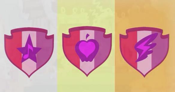 Dans l'ordre la cutie mark de Sweetie Belle, Apple Bloom et Scootaloo.