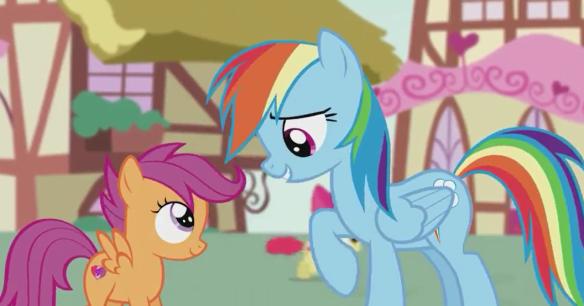 Rainbow Dash est fière de Scootaloo, sa petite protégée.